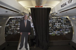 Senator McCain talks with the Press aboard a campaign flight.
