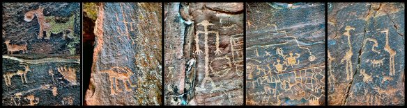 Sinagua Petroglyph Collage, a few of the more than 1000 ancient glyphs carved on a sandstone cliff face at theV-Bar-B site near Wet Beaver Creek in the upper Verde Valley of Arizona