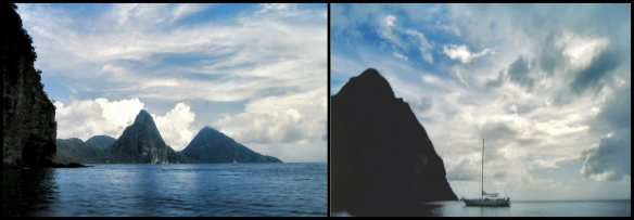 The Pitons from Soufriere Bay