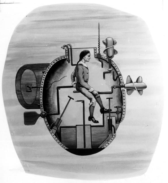 """Turtle"" submarine (photo courtesy of navy.mil)"