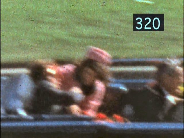 Frame 320 of the Zapruder film, approximately 1/3 of a second after the fatal shot entered JFK's forehead.