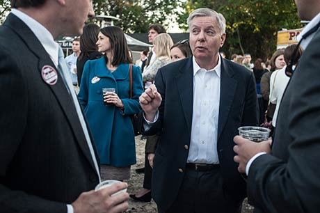 Lindsey Graham drinking and fundraising