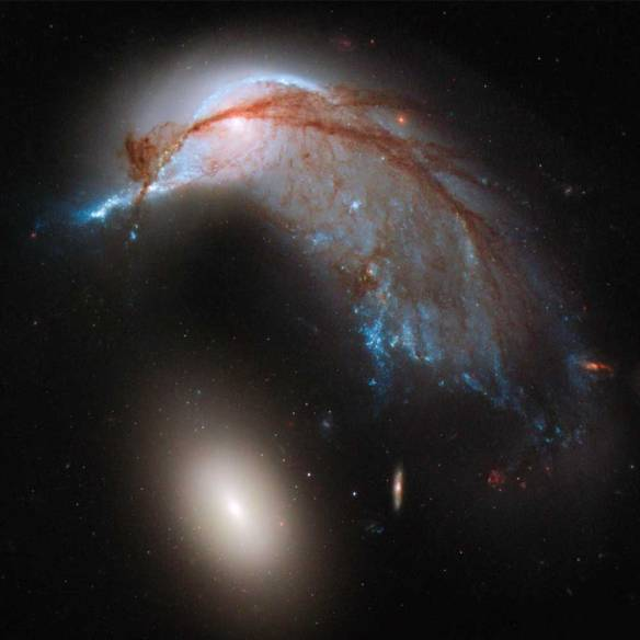 """...two galaxies interacting. NGC 2936, once a standard spiral galaxy, and NGC 2937, a smaller elliptical, bear a striking resemblance to a penguin guarding its egg."""