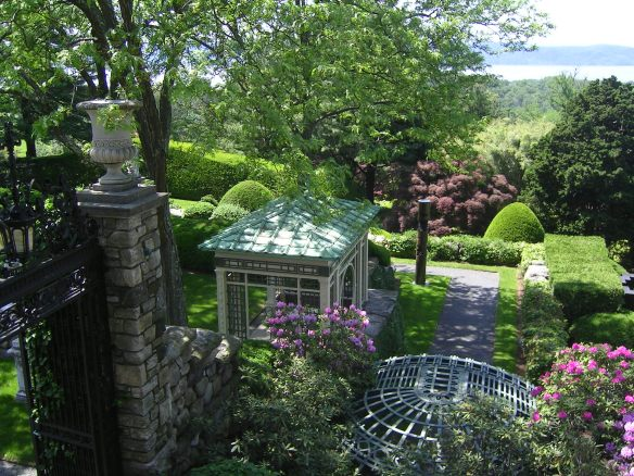 Gardens at Rockefeller Estate - Hudson River in the background.  (photo by Jeff Goodell)