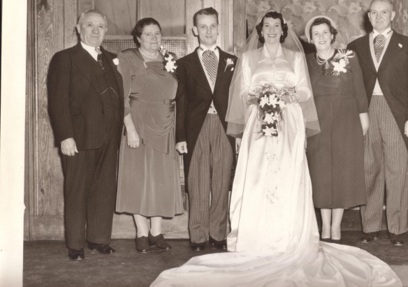 "Mum and Dad's Wedding - Left to Right, Grandpa Joe Sechny, ""Baba"", my dad, my mum, Grandma Bessie Cook, Grandpa Ralph Cook"