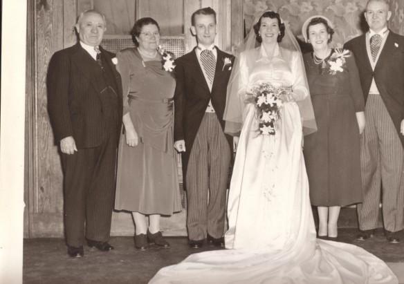 """Mum and Dad's Wedding - Left to Right, Grandpa Joe Sechny, """"Baba"""", my dad, my mum, Grandma Bessie Cook, Grandpa Ralph Cook"""
