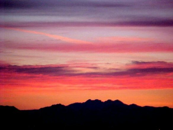 Sunrise over the Four Peaks Wilderness, Mazatzal Mountains, Arizona, ca 2005