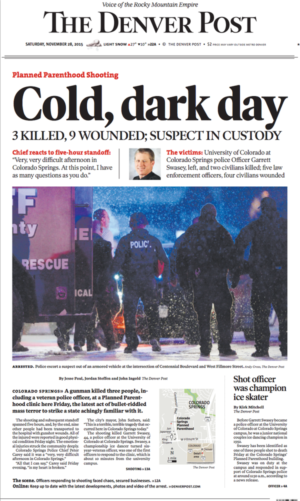 """""""Sneak Preview"""" of cover of Denver Post for Saturday, 11/28/15 (from Twitter)"""