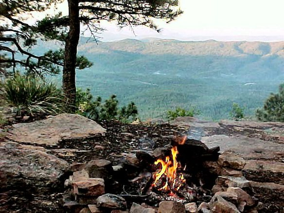 Morning Campfire, Edge of Mogollon Rim AZ, July 2003