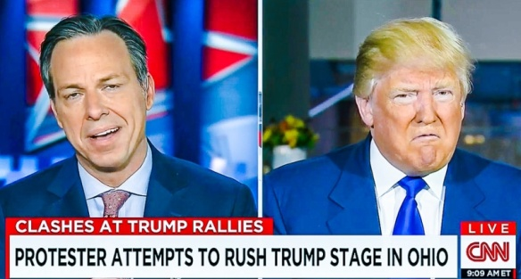 Trump prepares to spit venom at Jake Tapper.