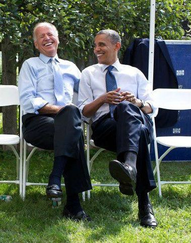 V.P. Joe Biden and President Obama acting casually.