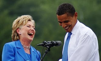 Patently genuine laugh between Hillary Clinton and President Obama