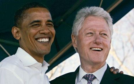 President Obama and former President Bill Clinton having a good time