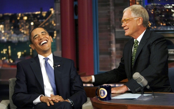President Obama has a good laugh with David Letterman