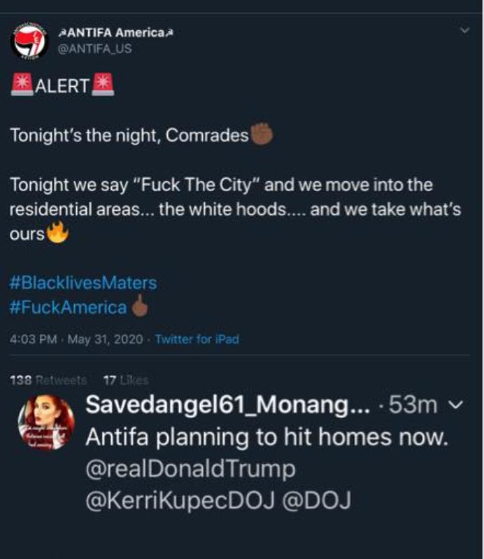 antifa fake tweet